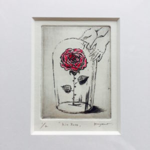 『his Rose』銅版画エッチング+手彩色/ 額装サイズ約W252×H305mm・作品サイズ約W70×H100mm/ ¥8,800(税・額込)