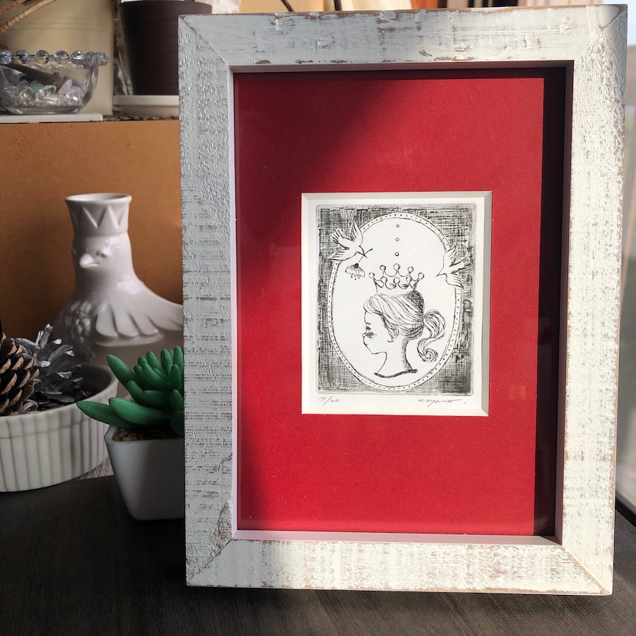 B-2赤『しずく姫』銅版画エッチング/ 額装サイズ約W15.5×H24cm厚さ2cm/¥5,500(税・額込)